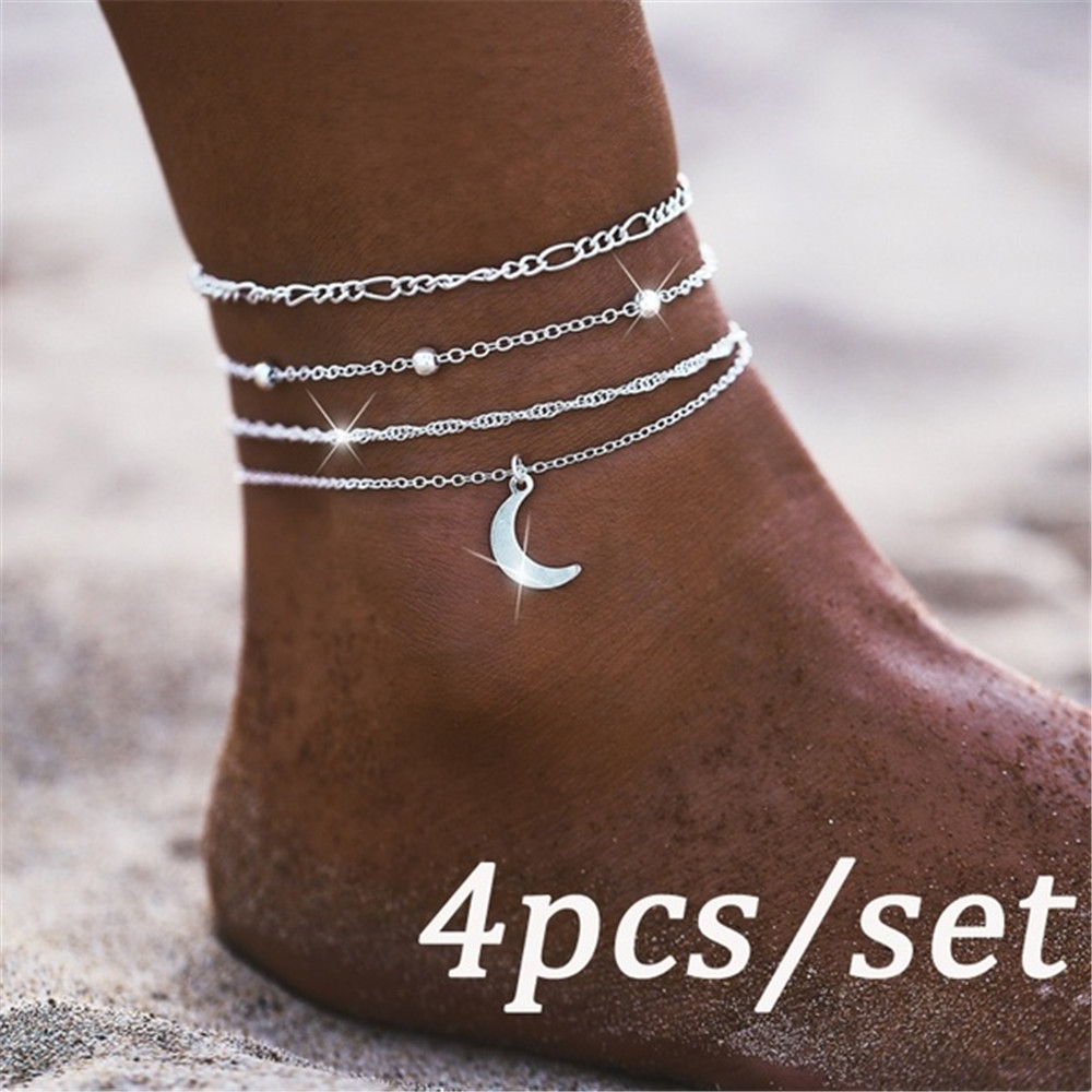 Women Multi Layer Moon Anklets Barefoot Crochet Sandals Foot Chain Jewelry Ankle Foot Anklets Bracelets For Women Leg Chain New