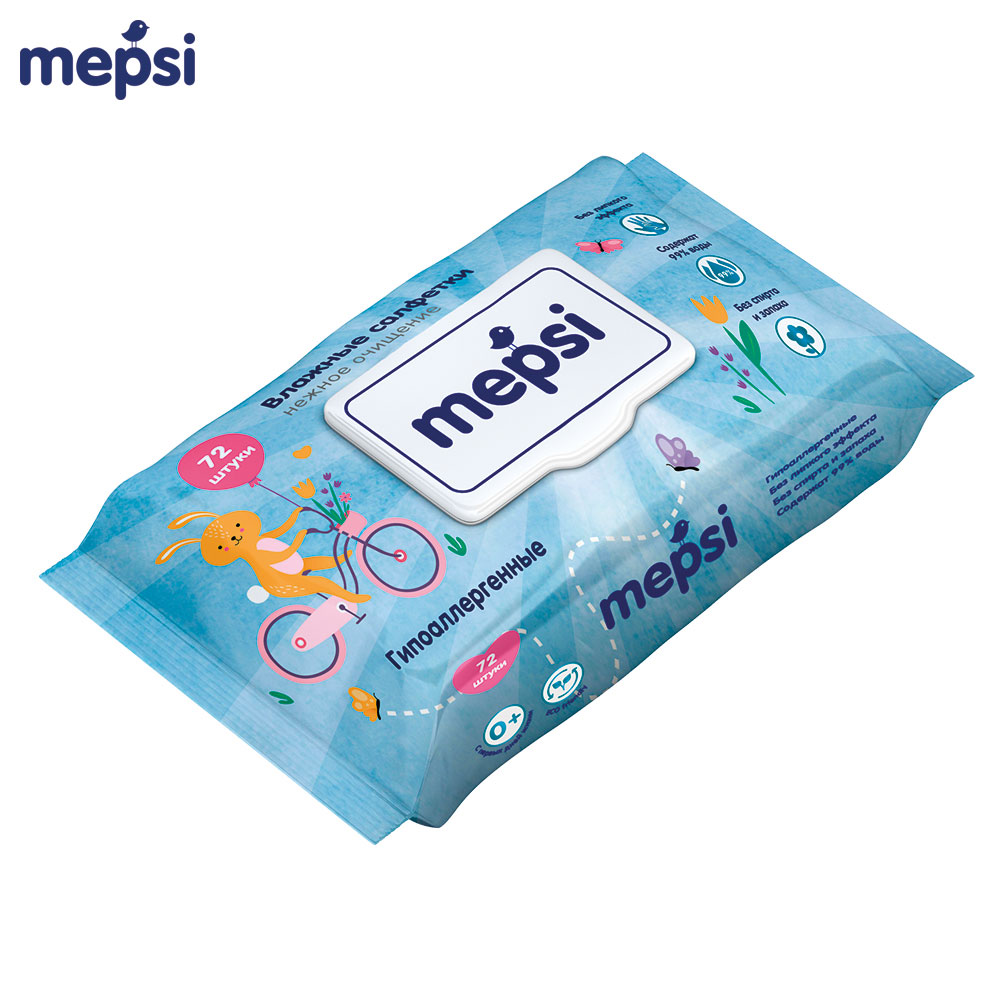 Wet Wipes MEPSI 0163 Hypoallergenic For children baby kids Alcohol-Free No smell Aloe wet wipes huggies aloe ultra comfort 128 pcs baby wipes