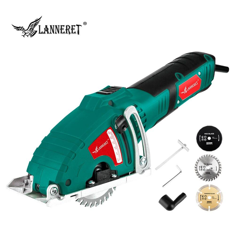 Lanneret mini serra circular elétrica 700 w mini serra ferramenta acessível, 3 lâminas dos pces, guia paralelo ferramentas de fixação serra de madeira de metal