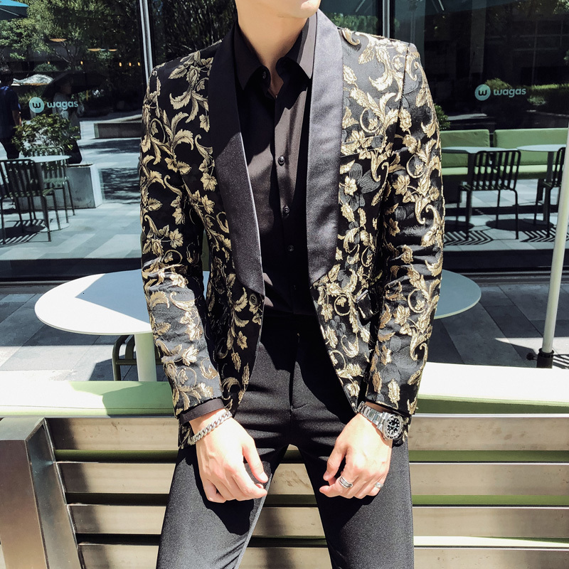 Gold Jacquard Bronzing Floral Blazer Men Party Stage Singer Costume Homme 2020 Spring Mens Patchwork One Button Blazer Jacket