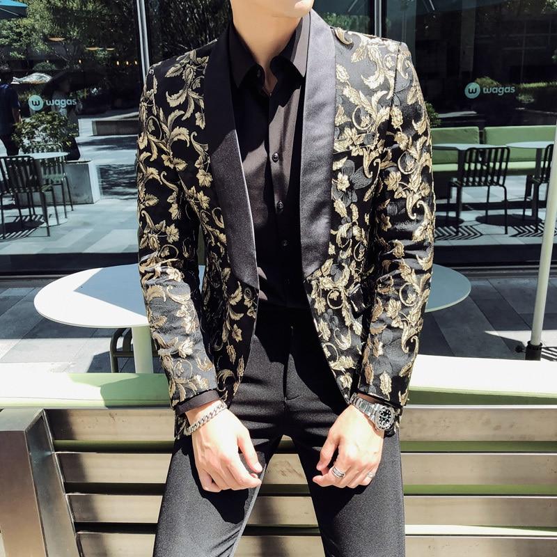 Gold Jacquard Bronzing Floral Blazer Men Party Stage Singer Costume Homme 2020 Spring Mens Patchwork One Button Blazer Jacket