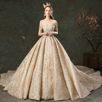 Wedding Dress Long Train To The Lacy Boat With Collar Noiva Is Dressed In Luxurious трусы people dressed in style 2014