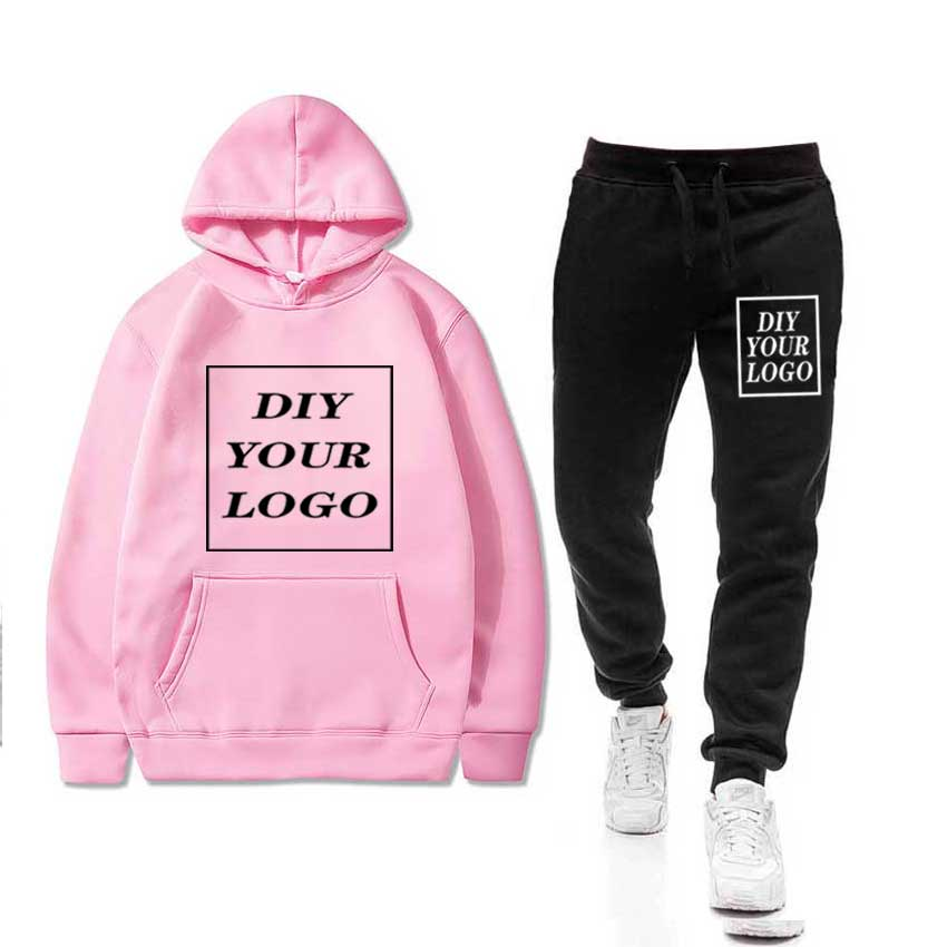 Men 39 s Sets Sportswear Thick Hoodie Pants DIY Logo Sport Suits Casual Sweatshirts Tracksuit Male Sportswear Gyms Fitness trouser in Men 39 s Sets from Men 39 s Clothing
