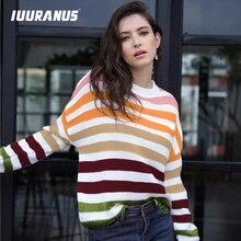 IUURANUS Fashion Rainbow Stripe Women Pullover 2019 Autumn Winter Casual High Street Loose Long Sleeves Sweater Female Jumpers