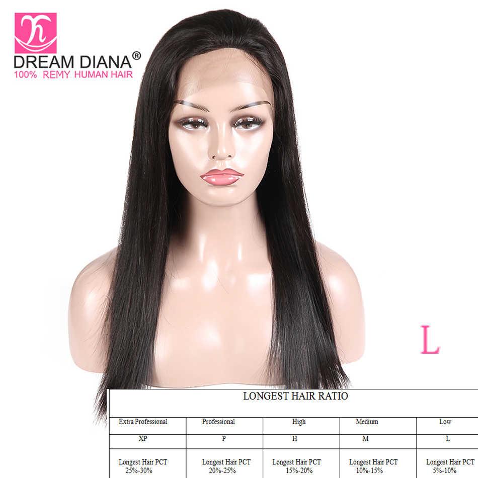 """DreamDiana peruano pelucas rectas de encaje Natural pelucas sin pegamento 8-28 """"Remy Pre desplumado pelucas de cabello humano de encaje completo pelucas de baja relación"""