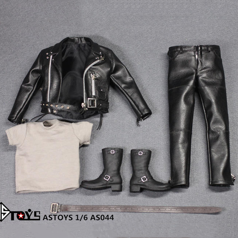 <font><b>1/6</b></font> Scale Arnold PunK Leather Black Jacket Suits Set Locomotive version Toy Fit 12