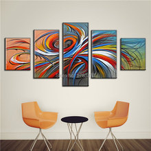 Hand-Painted modular Oil Painting Home Decor Wall Art Pictures 5pcs colorful abstract Canvas Paintings For Living Room Original