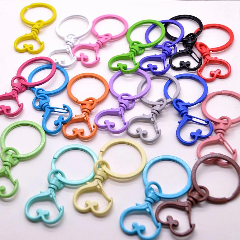 10pc/lot 19 Colors Heart Keychains Lobster Clasps Hooks Key Chain Key Rings For DIY Trinkets Pom Pom Keychain Jewelry Findings