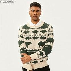AreMoMuWha 2019 зима новый ретро скандинавский исландский ветер винтажный свитер рукава реглан SlimGreen мужские пуловеры QX1366