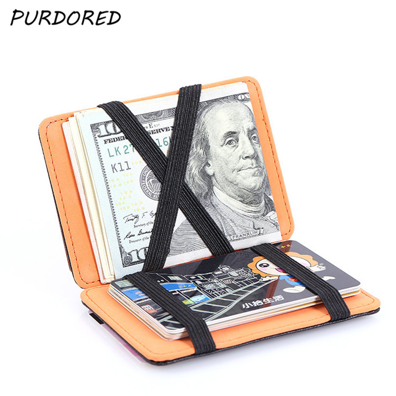 PURDORED 1 Pc Magic RFID Card Holder PU Leather Men Credit Card Holder Business ID Card Wallet Case To Protect Cards Tarjetero