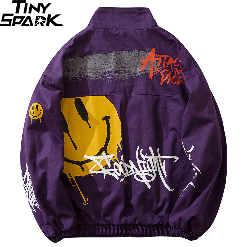 Spring 2020 Men Jacket Windbreaker Smiling Face Graffiti Hip Hop Track Jacket Streetwear Zipper Jacket Coat Purple Hipster