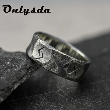 Cool Stuff Stainless steel Odin Norse Viking Anel Amulet Rune Couple Dating Rings For Men Women Words Retro Jewelry OSR708 1