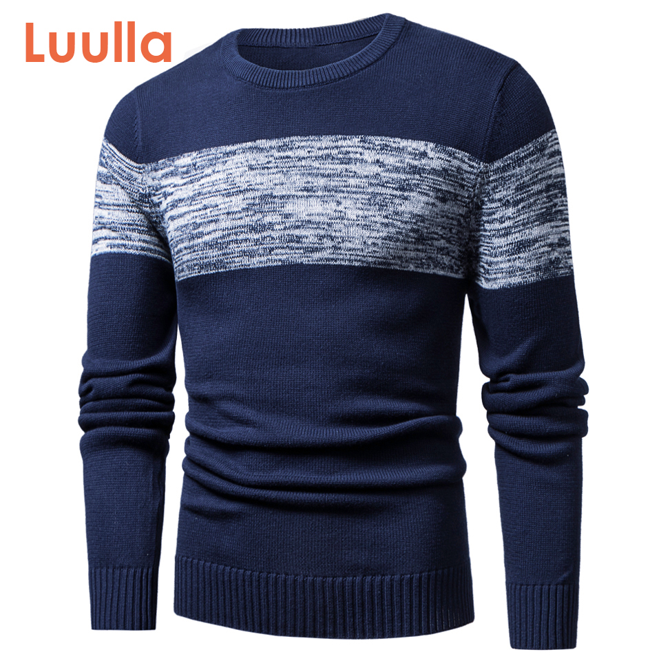 Luulla Men Autumn Spring New Casual Knitted Cotton Pattern Sweaters Pullover Men Outfit Fashion O-Neck Sweater Coat Men 3XL