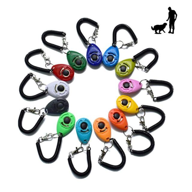 1 Piece Pet Cat Dog Training Clicker Plastic New Dogs Click Trainer Aid Too Adjustable Wrist Strap Sound Key Chain Dog Supplies 2
