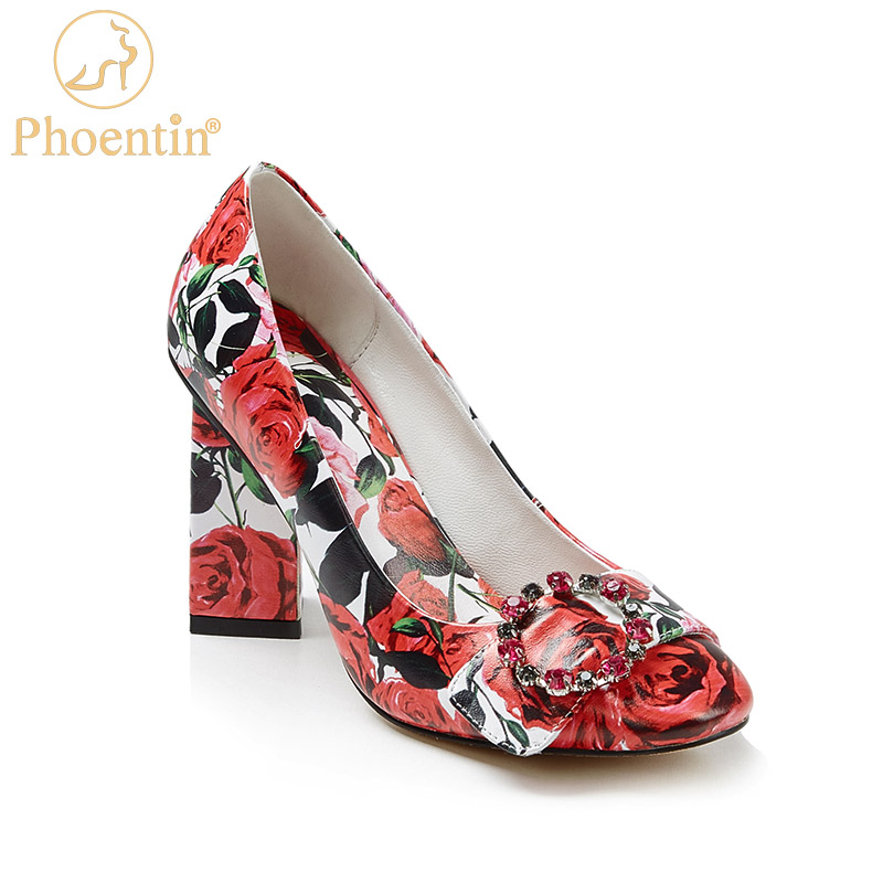 Phoentin Rose Print Red High Heels 2020 Crystal Buckle Decoration Bride Shoes Fashion Evening Shoe Pumps Ladies Plus Size FT923
