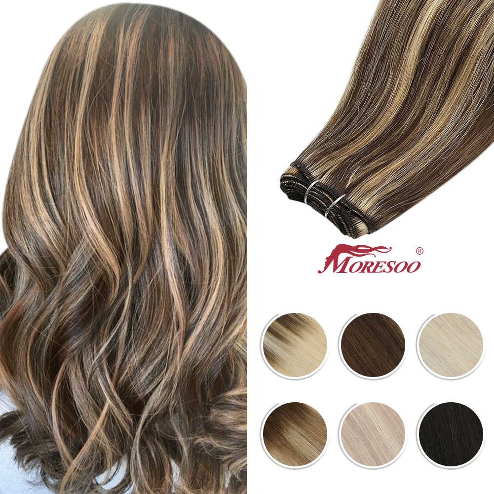 Moresoo Hair Weft Human Hair Extensions Brazilian Machine Remy Natural Straight Blonde Weaving 100g Per Sew in Hair Bundles