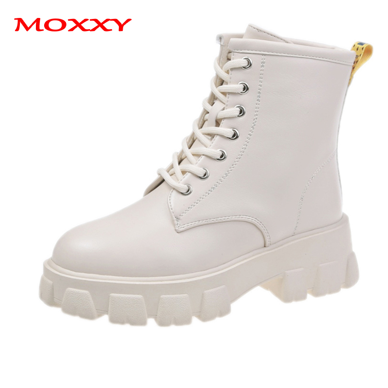2019 New Winter Warm Boots Women Leather Black White Ankle Boots Platform High Heel Fur Plush Lace Up Combat Boots Female