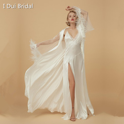 Two Piece Long Sleeve Bride Get Ready Robe Morning Pajamas Satin Evening Robe with Feather