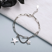 Simple Retro Smiling Face Star Thai Silver Bracelet silver plated Tassel Chain For Women Jewelry