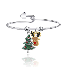 2019 New Winter Fashion Christmas Theme Series Bracelet Christmas Tree Elk Silver Color Alloy For Women Jewelry Christmas Gifts new alloy gorgeous fashion christmas theme snowman cane santa claus color pendant bracelet bracelet christmas best gift jewelry