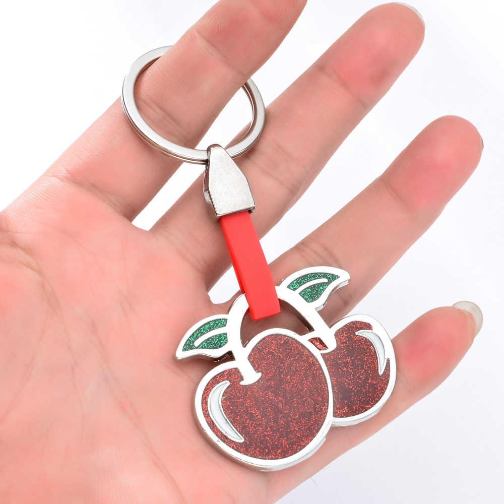 Vicney moda chile cereja chaveiro bonito 3d frutas cerejas chaveiro lembrança de viagem presente para as mulheres saco chaveiro
