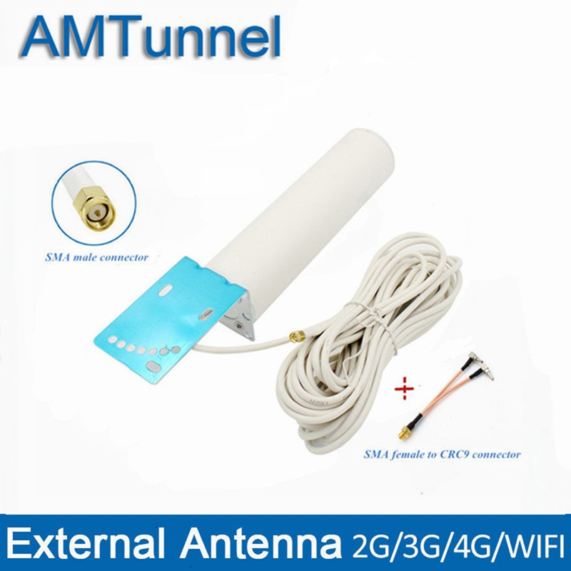 Antena LTE 4G, antena 3G 4G, antena SMA-M para exteriores con 10m y SMA-F a conector CRC9/TS9/SMA para enrutador 3G 4G Antena WiFi 4G LTE, antena SMA 12dBi Omni antenne CRC9 TS9 SMA macho 5m, cable dual 2,4 GHz CRC9 para Routers Huawei B315 E8372 ZTE