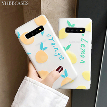 YHBBCASES Relief Cartoon Lemon Orange TPU Case For Samsung Galaxy S10 S8 S9 Plus Summer Fruits Phone Cover Note 8 9