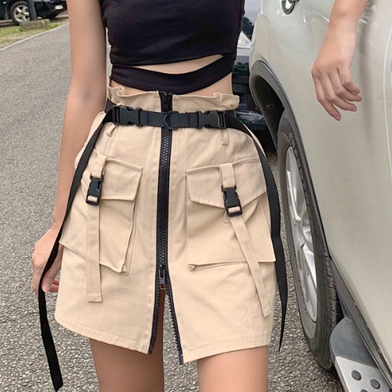 Image 4 - Women's Summer Harajuku Skirt with Belt Pocket Zipper Decorative Tooling Skirts Female Fashion High Waist Mini Skirt 2 colors-in Skirts from Women's Clothing