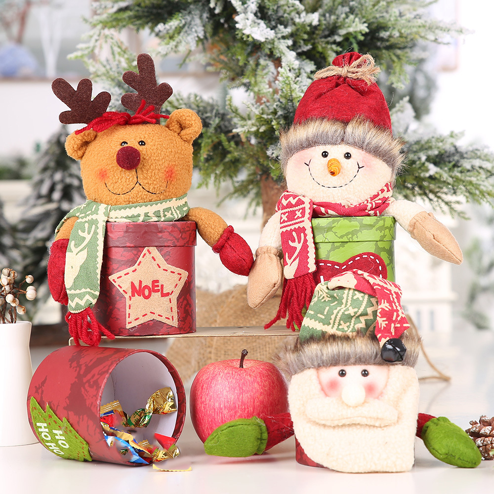 Christmas Leather Candy Jar Santa Claus Snowman Elk Doll Apple Storage Box Cans Gifts Holder Ornaments Decoration 2020 New Year