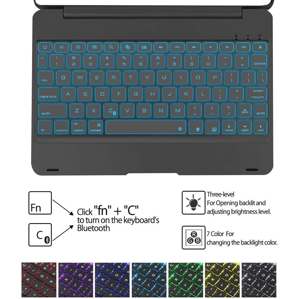 Pour 10.2 pouces iPad 7 Serie 2019 Ultra-mince 2-en-1 tablette clavier avec étui de transport de stockage clavier sans fil Bluetooth 78 touches