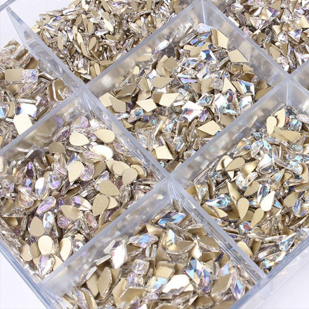 30 шт плоские задние стеклянные стразы для ногтей Алмазная капля ромбовидные кристаллы Камни блестящие Звездные драгоценные камни маникюрн...