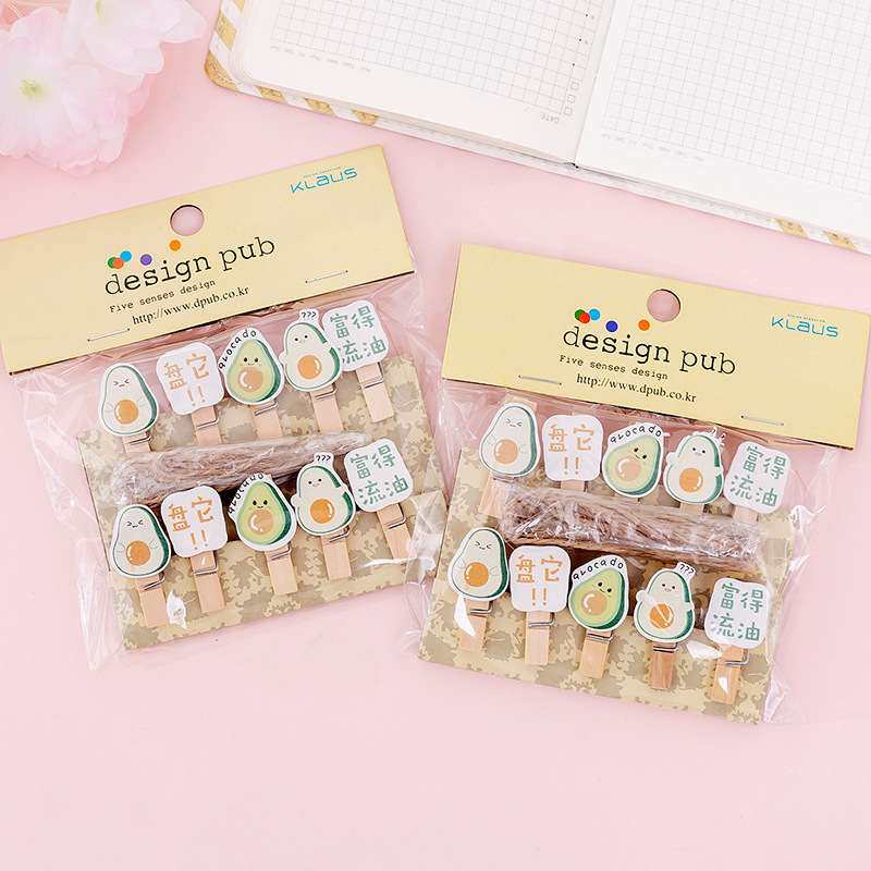 Cute Cartoon Fruit Avocado Wooden Paper Clip Bookmark For Album With Rope Message Stickers Stationery School Office Supply