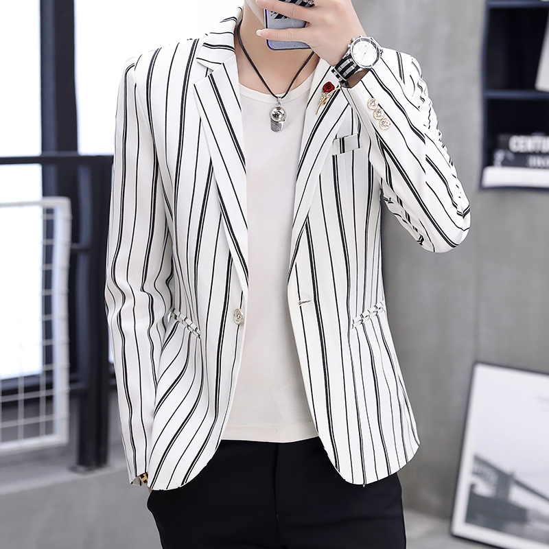 Mens Blazer Spring And Autumn 2020 New Vertical Stripe Slim Single-button Casual Blazer Homme Mens Suits Blazers