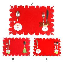 Christmas Table Placemat Cute Cartoon Pattern Pad Non-woven Fabric Table Mat Suitable For H