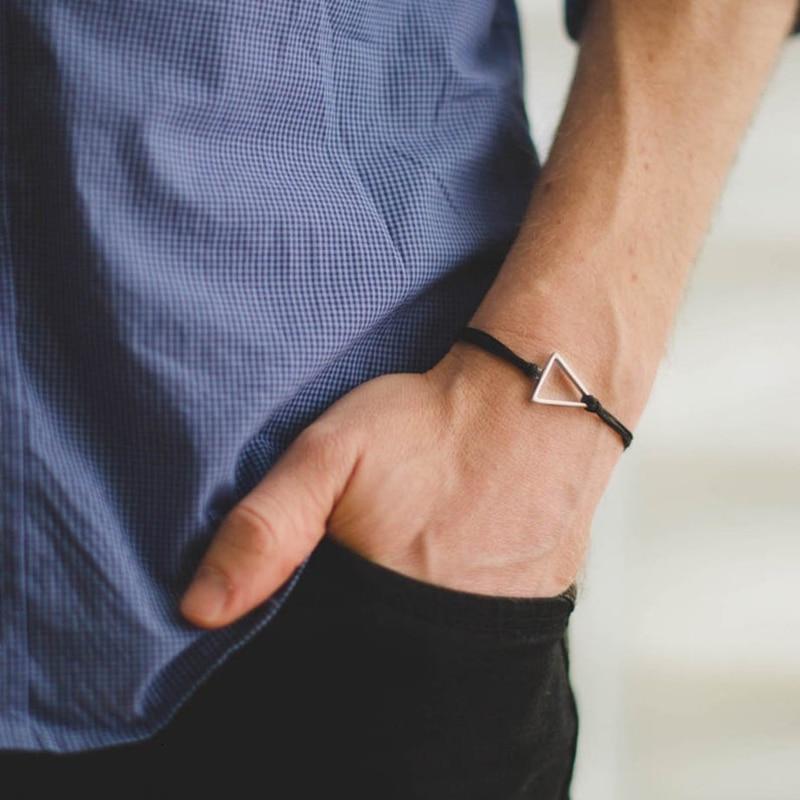 2020 New Fashion Triangle Charm Men Bracelet Two-lay Black Rope Chain Bracelet For Men Women Jewelry Gift