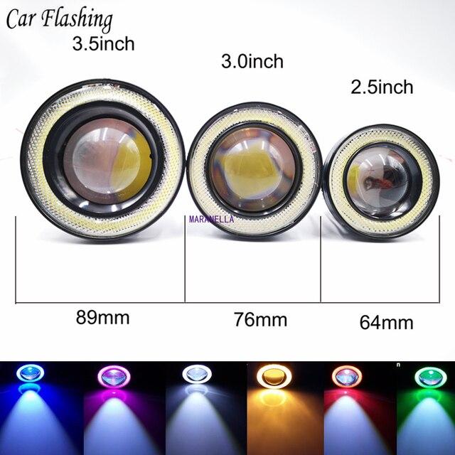 "2pcs Angel Eyes Fog Lamp  3.0"" 76mm  12V Universal COB LED DRL Driving Lights white blue pink yellow green red"