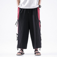 #0722 Summer Plus Size Cotton Linen Pants Men Side Bandage Casual Vintage Wide Leg  Kimono Loose Straight Black Red Grey