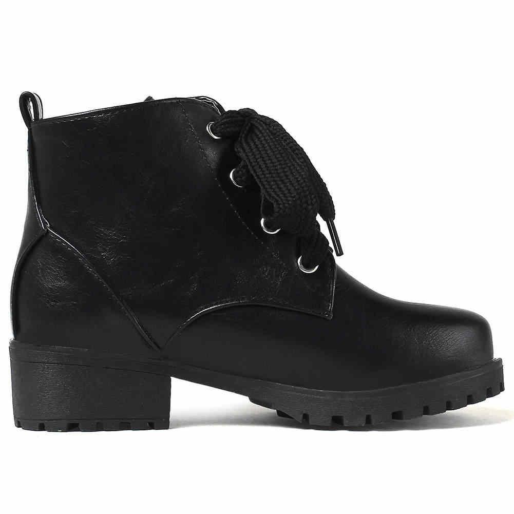 BONJOMARISA 33-44 Elegant Retro แพลตฟอร์มรองเท้าผู้หญิง LACE-up ข้อเท้ารองเท้าผู้หญิง 2020 MED กว้างรองเท้าส้นสูงรองเท้าผู้หญิง