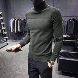 Automne hiver chandail hommes Turtelneck chandails solide chaud tricoté pulls hommes chandails décontracté mode Slim Fit pulls