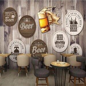 Image 2 - 유럽과 미국 스타일의 복고풍 나무 보드 배경 맥주 벽화 벽지 레스토랑 바 KTV 산업 장식 벽 종이 3D