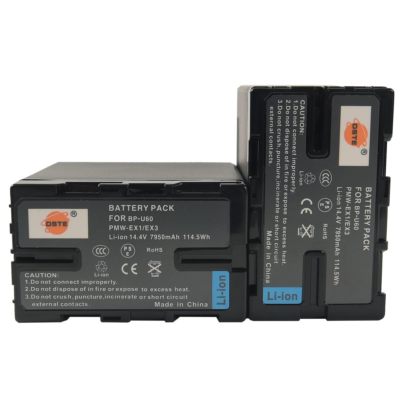 DSTE Ersatz für 2x BP-U60 Li-Ion Batterie Kompatibel Sony PMW-100 150P 160 MW-200 EX1 EX3 EX260 EX280 EX160 F3 PXW-X180