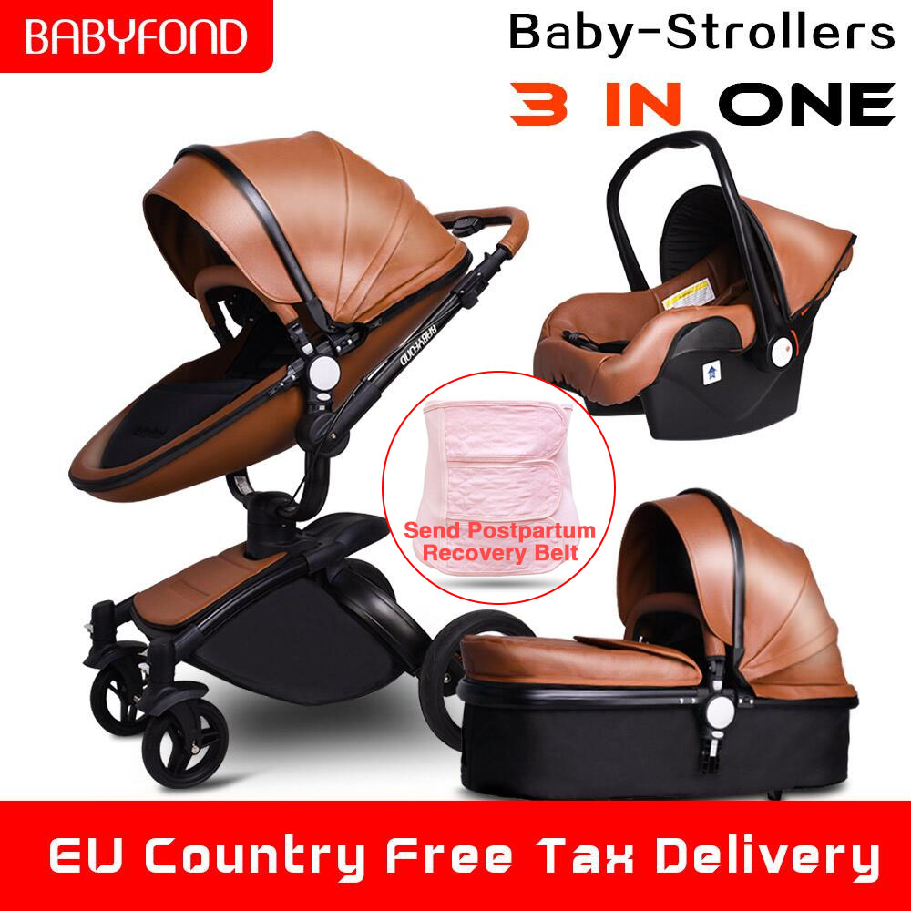 Babyfond High Landscape Stroller Leather Stroller Luxury Baby Stroller 3 In 1 Folding Kinderwagen Baby Pram Send Free Gifts