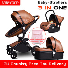 Babyfond High landscape stroller Leather stroller luxury baby stroller 3 in 1 Folding kinderwagen baby pram send free gifts high quality baby stroller many colors new born can use stroller ru free on sale leg cover free 7 gifts