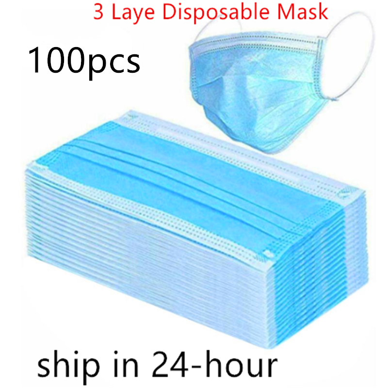 5/100PCS Disposable Protective Mask 3 Layers Dustproof Facial Protective Cover Masks Maldehyde Prevent Anti-pollution Face Masks
