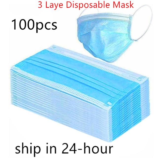 5/100PCS Disposable Protective Mask 3 Layers Dustproof