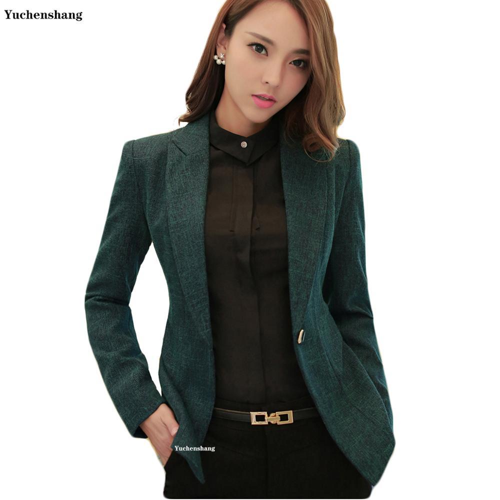 Women Notched Collar Blazer With Slanted Pocket New Fall Winter Green Gray Single Button Jackets Slim Coat 5XL 6XL 7XL