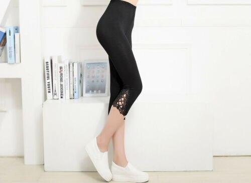 Hot Sale Summer Lace Slim High Waist Women Crop 3/4 Length Leggings Clothes Ladies Casual Capri Cropped Modal High Quality Pants