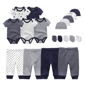 2020 Solid Unisex New Born Baby Boy Clothes Bodysuits+Pants+Hats+Gloves Baby Girl Clothes Cotton Clothing Sets Roupa de bebe(China)