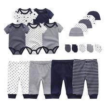 Gloves Bodysuits Clothing-Sets Pants Baby-Girl Roupa-De-Bebe Cotton New Born Unisex Solid