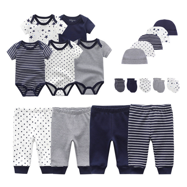 2021 Solid Unisex New Born Baby Boy Clothes Bodysuits+Pants+Hats+Gloves Baby Girl Clothes Cotton Clothing Sets Roupa de bebe